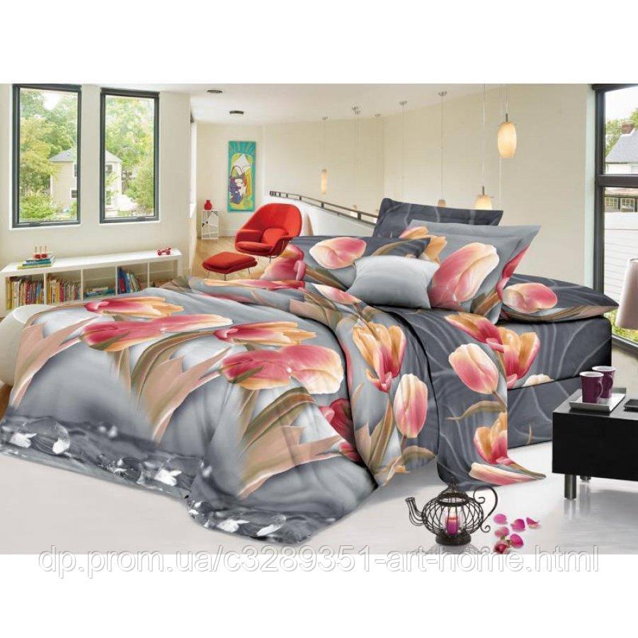 Двуспальное постельное белье София 3D (микросатин) - Лилейные тюльпаны