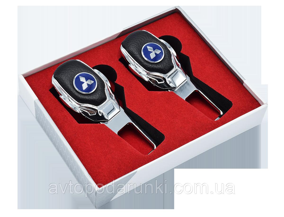 Заглушки ремней безопасности с логотипом  MITSUBISHI (Premium) / 2шт