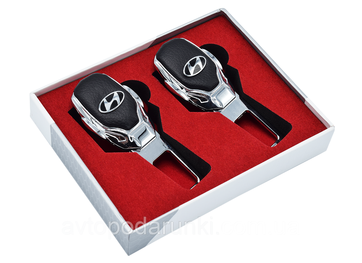 Заглушки ремней безопасности с логотипом  HYUNDAI (Premium) / 2шт