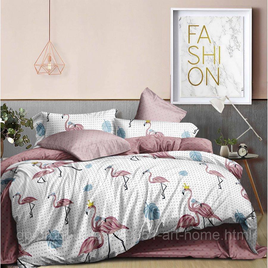 Полуторное постельное белье Бязь Ranforse (100% хлопок) - Царский фламинго