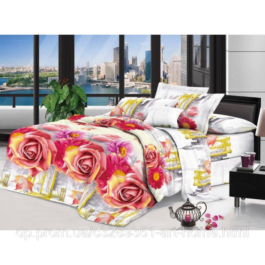 Двуспальное постельное белье София 3D (микросатин) - Осенняя роза