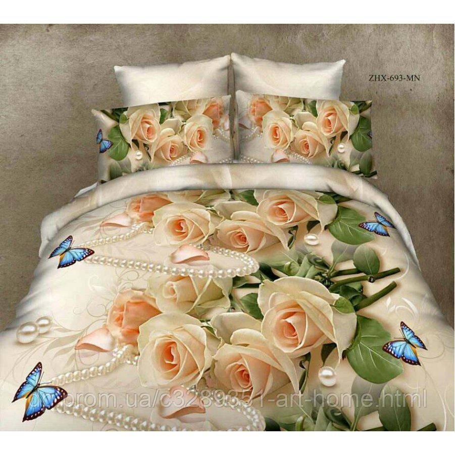Евро постельное белье София 3D (микросатин) - Роза бабочка и жемчуг
