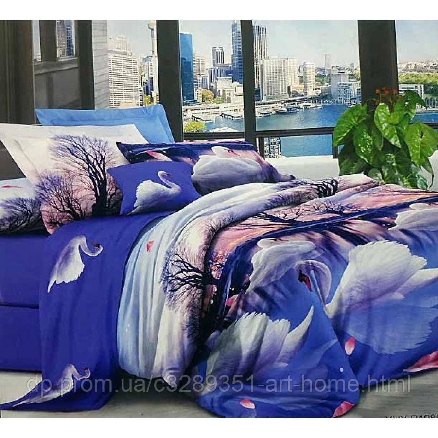 Двуспальное постельное белье София 3D (микросатин) - Неоновые лебеди
