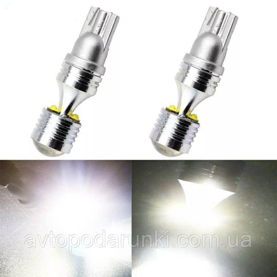 Светодиодные LED лампочки HL68 1000Lm с цоколем  T10 (W5W, 9V-12V, БЕЛЫЕ), безцокольные лед лампы в габариты /
