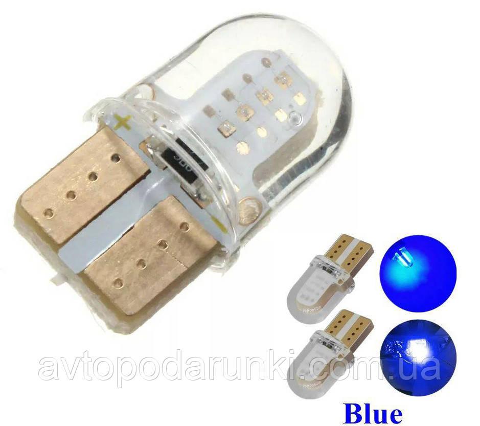 Светодиодные LED лампочки HL37 с цоколем T10  (W5W, 9V-12V, СИНИЕ), безцокольные лед лампы в габариты / 2шт