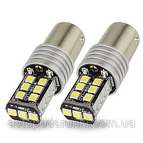 Автомобильные LED лампы HP72 БЕЛАЯ в ЗАДНИЙ  ход, ДХО, СТОП - ЯРКАЯ с цоколем 1156 (P21W) (BA15S) 12в, 4Вт, 35