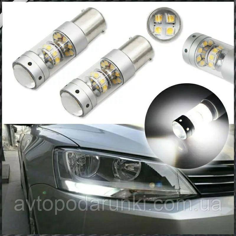 Автомобильные LED лампы HP73 БЕЛАЯ в ЗАДНИЙ  ход, ДХО, СТОП - ЯРКАЯ с цоколем 1156 (P21W) (BA15S) 12в, 6Вт, 12