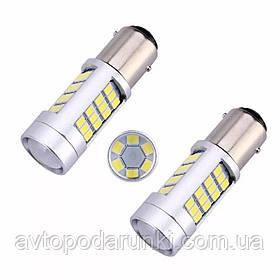Автомобильные LED лампы HP74 БЕЛАЯ в ЗАДНИЙ  ход, ДХО, СТОП - ЯРКАЯ с цоколем 1156 (P21W) (BA15S) 12в, 5Вт, 42