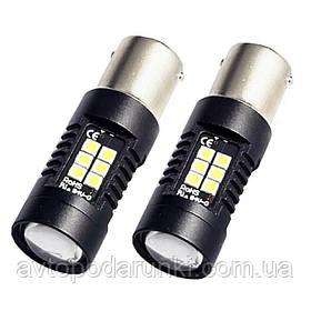 Автомобильные LED лампы HP76 БЕЛАЯ в ЗАДНИЙ  ход, ДХО, СТОП - ЯРКАЯ с цоколем 1156 (P21W) (BA15S) 12в, 4Вт, 21