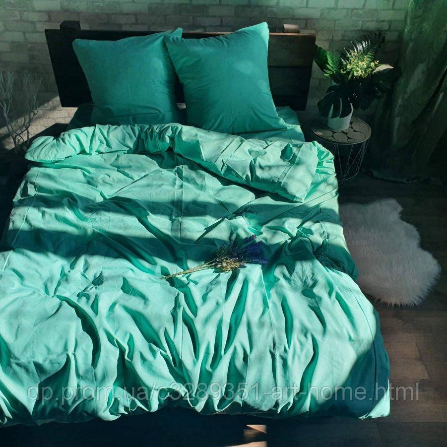 Двуспальное постельное белье Бязь Gold - Однотонное мята