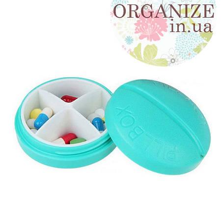 Круглый контейнер для таблеток на 4 отделения (голубой) РАСПРОДАЖА