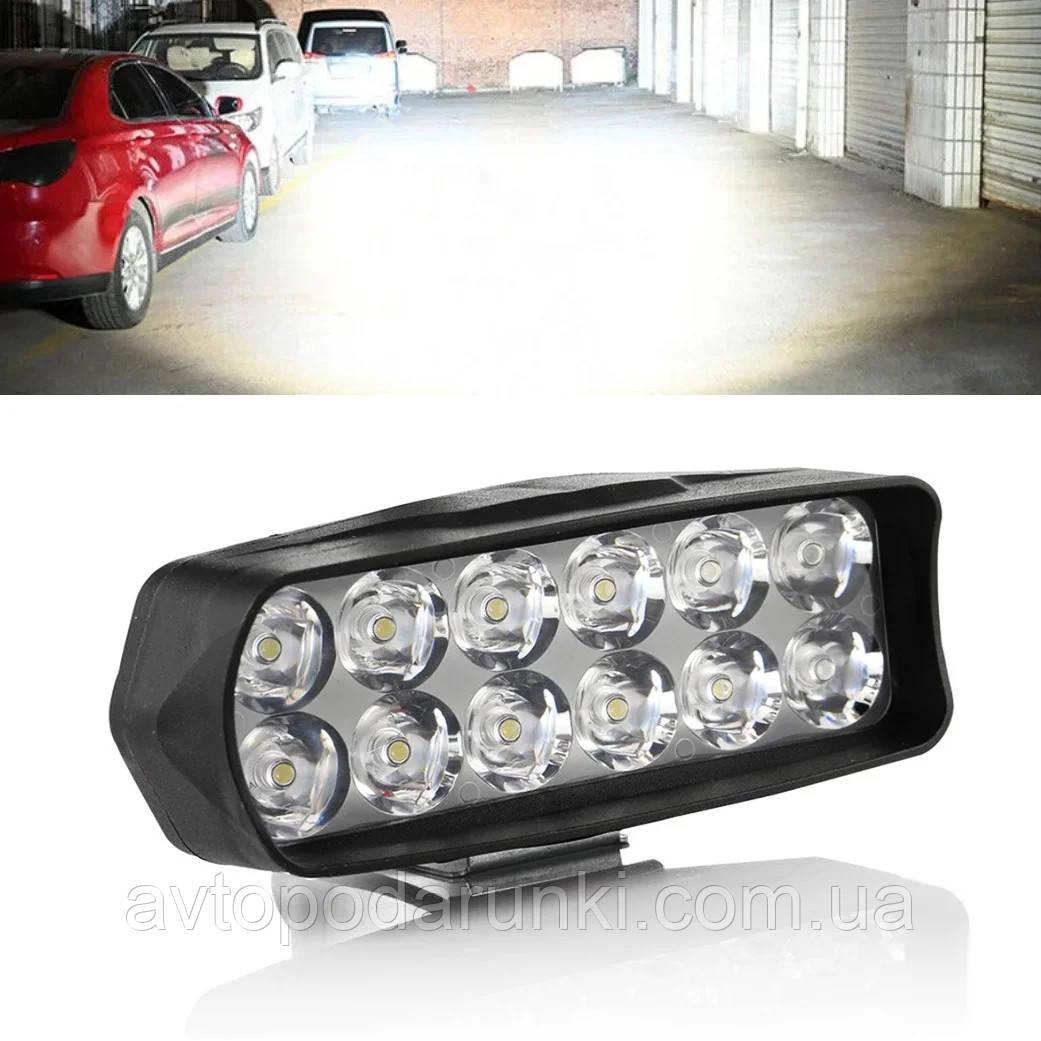 Світлодіодна фара з лінзою для мотоциклів і автомобілів ( 12 LED, 12V, 18 Вт, 6500K )