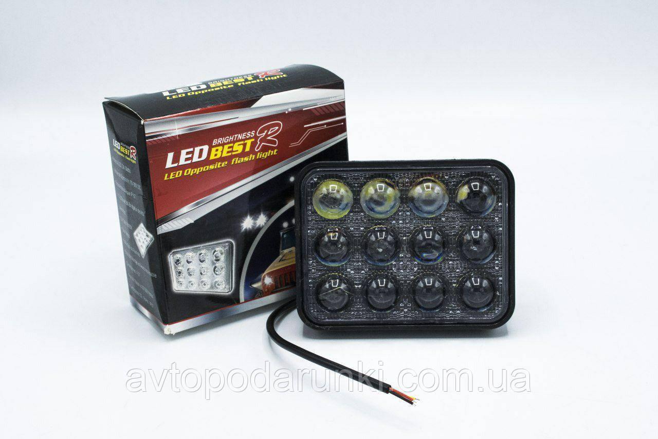 LED фара с функцией стробоскопа с линзами  для мотоциклов и автомобилей (12 LED, 12V, 24Вт, 6500K )