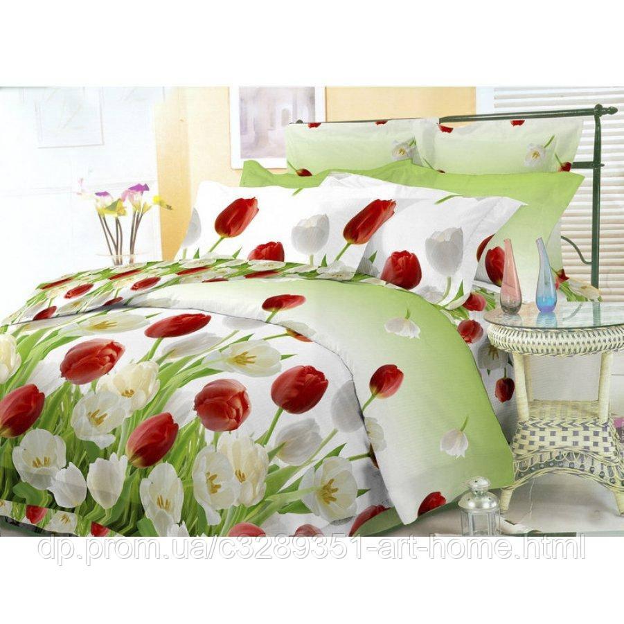 Полуторное постельное белье Бязь Gold - Тюльпаны на зеленой траве