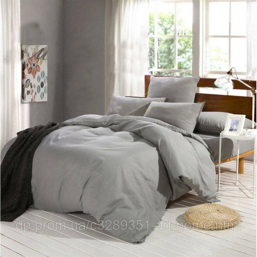 Полуторное постельное белье Бязь Gold - Однотонное серое