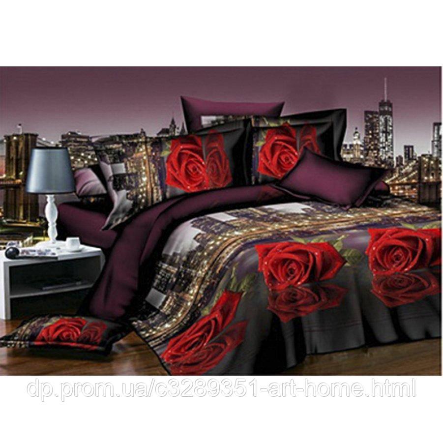 Двуспальное постельное белье Бязь Gold - Красная роза в ночном городе