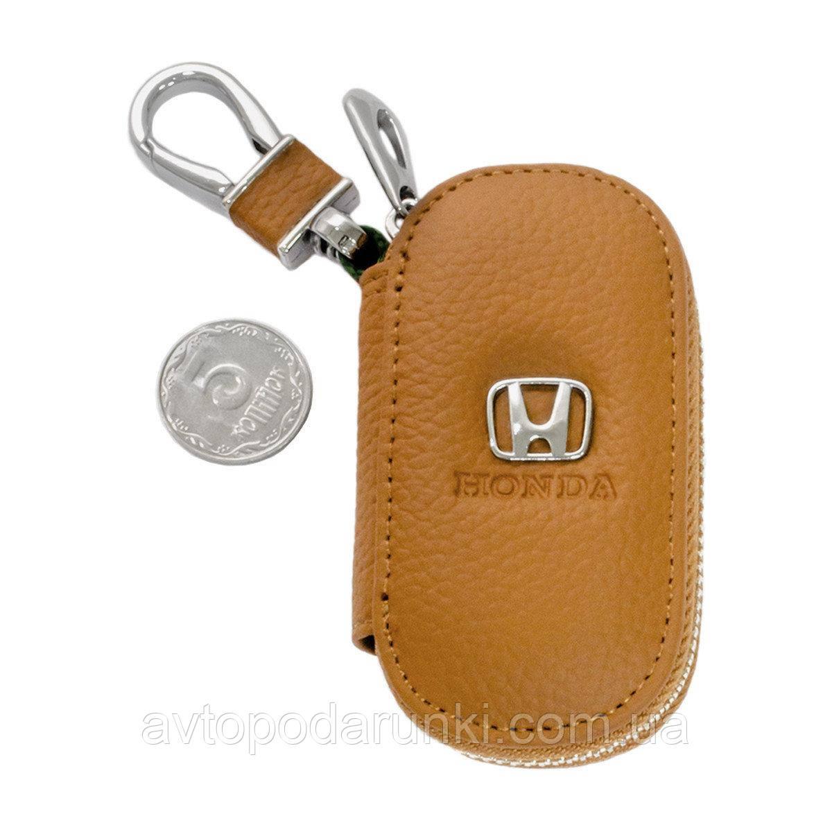 Ключница HONDA, кожаная автоключница с логотипом  ХОНДА (коричневая 08001)