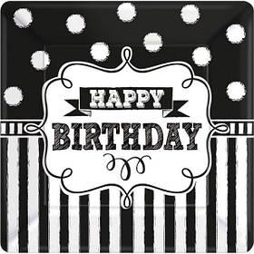 """Тарілки паперові стиль """"Happy birthday"""", 8 шт, 17.7 см, Набор тарелок """"С днем рождения"""""""