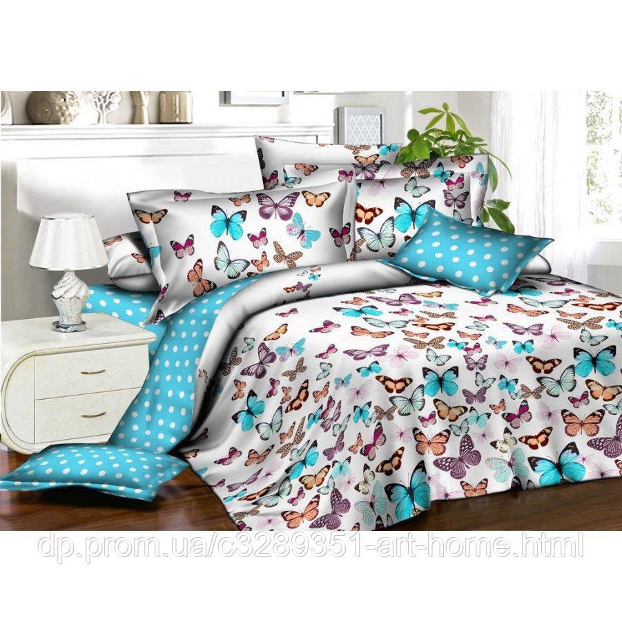 Двуспальное постельное белье Бязь Gold - Бабочки и белый горошек