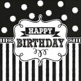 """Серветки стиль """"Happy birthday"""", 16 шт, 33 см, Салфетки """"С Днем Рождения"""""""