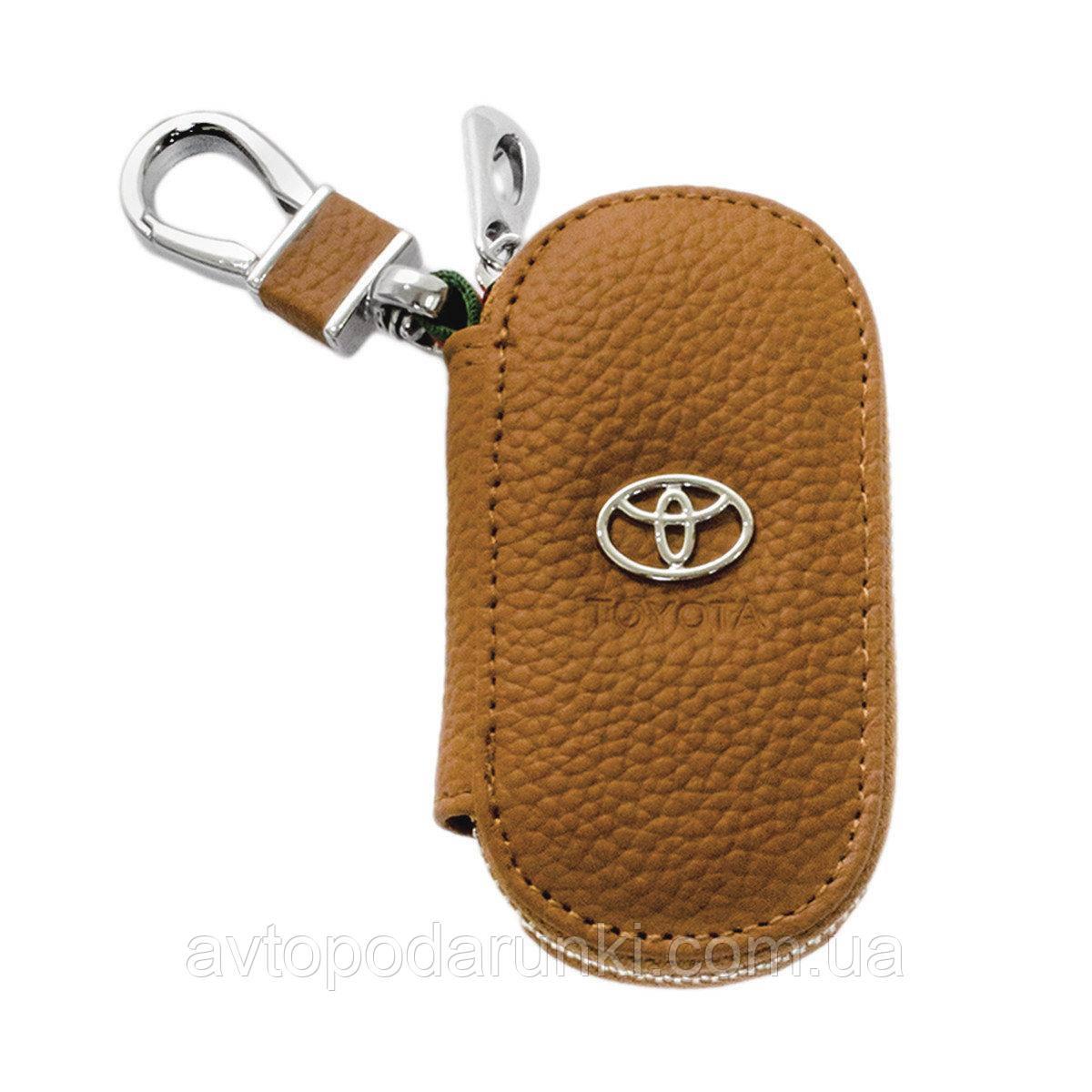 Ключница TOYOTA, кожаная автоключница с логотипом  ТОЙОТА (коричневая 07001)