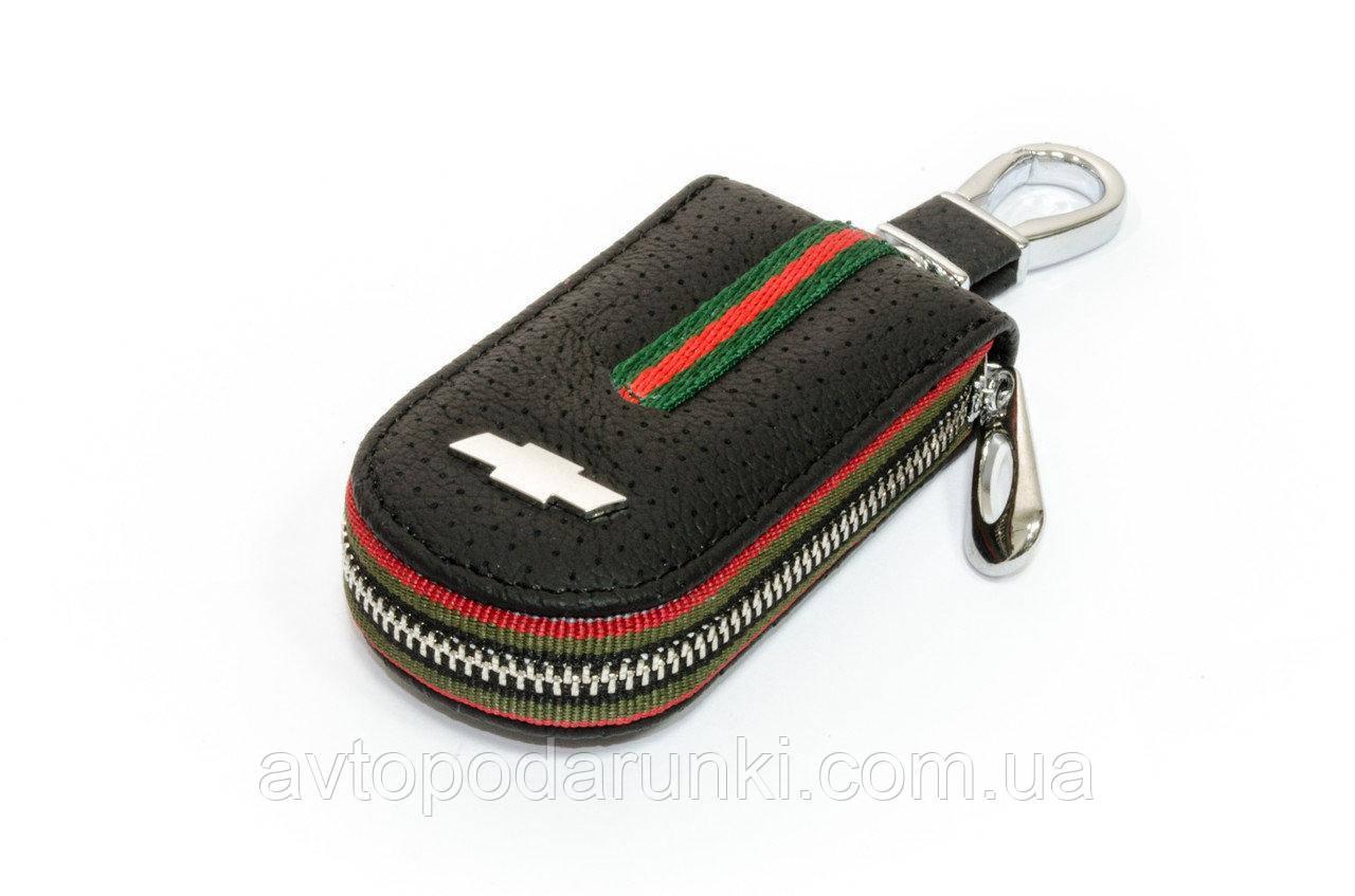 Ключница CHEVROLET, кожаная автоключница с  логотипом ШЕВРОЛЕ (черная 14007)