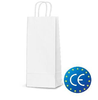 Белый крафт пакет с витыми ручками (150х80х400) CE