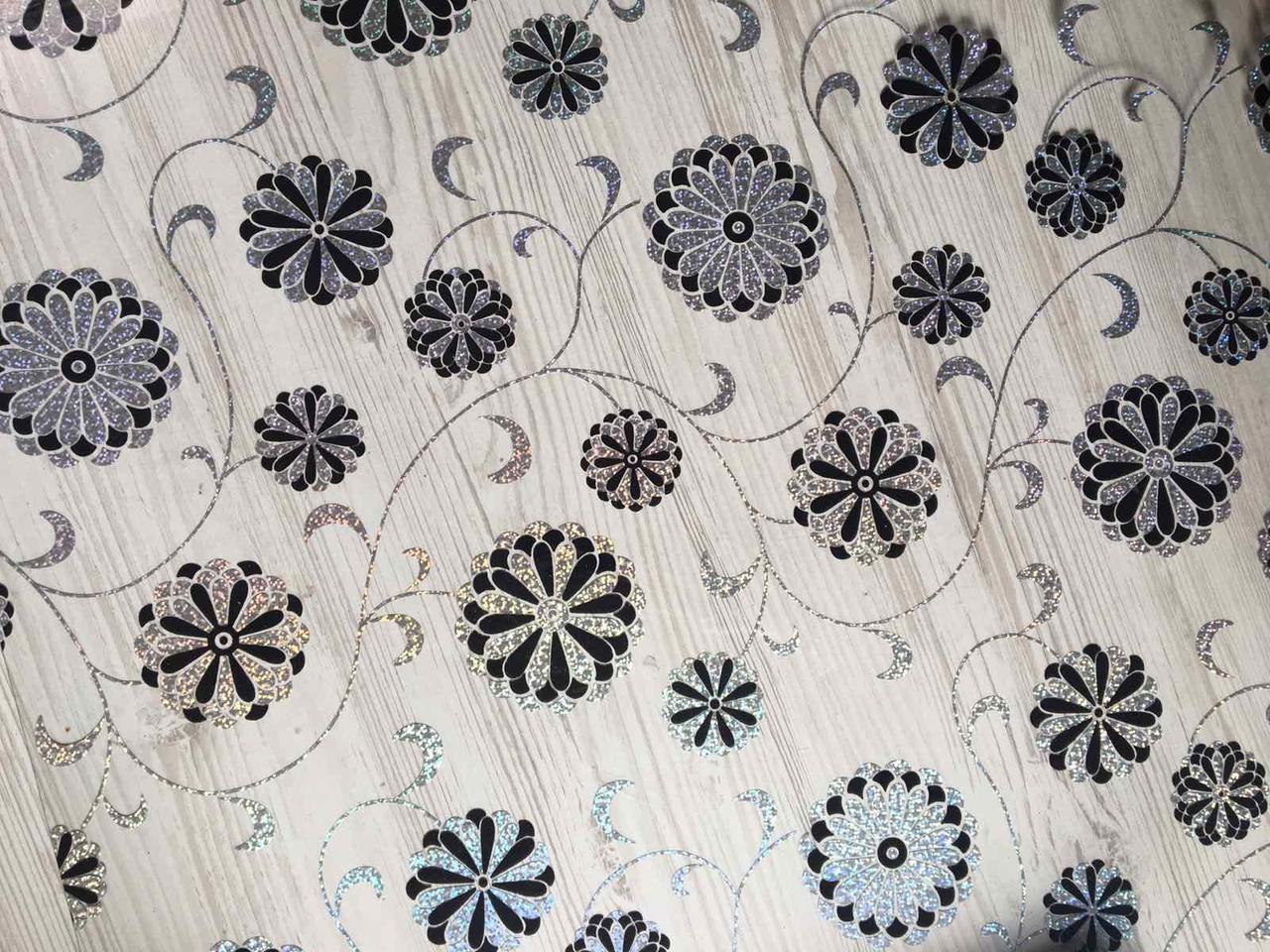 Скатертина м'яке скло Soft Glass з лазерним малюнком 2.1х0.8м (товщина 1.5 мм) Сріблясто-чорні квіти