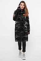 Крутая длинная зимняя черно-оранжевая куртка НОВИНКА