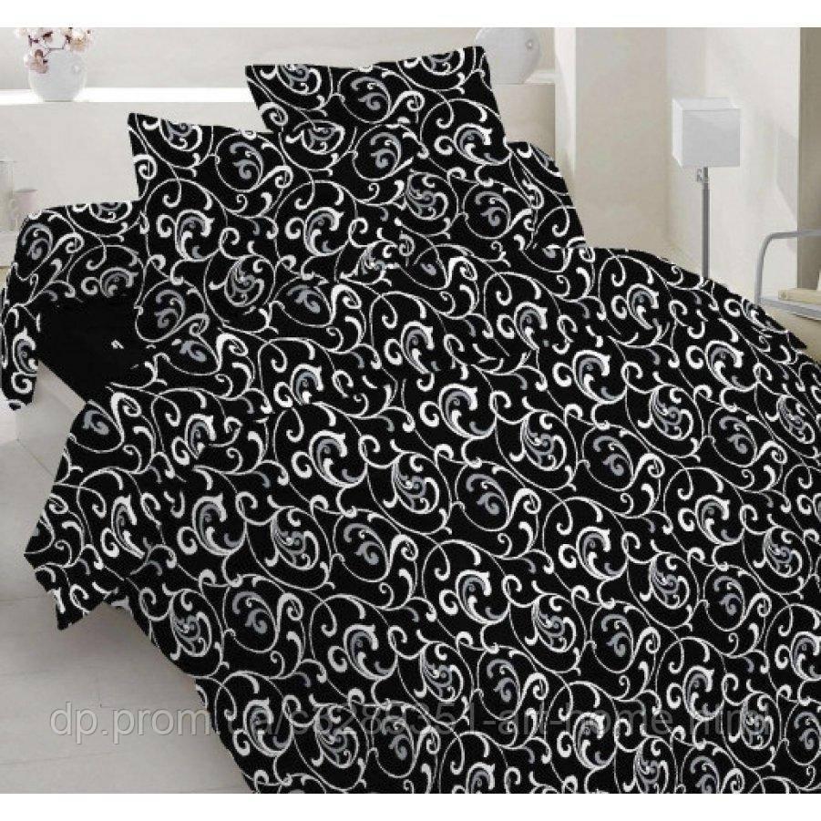 Двуспальное постельное белье Бязь Gold - Белый вензель на черном