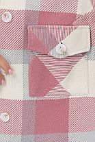 Рубашка женская теплая из турецкого кашемира в крупную клетку пудра в стиле оверсайз, фото 3