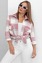 Рубашка женская теплая из турецкого кашемира в крупную клетку пудра в стиле оверсайз, фото 2