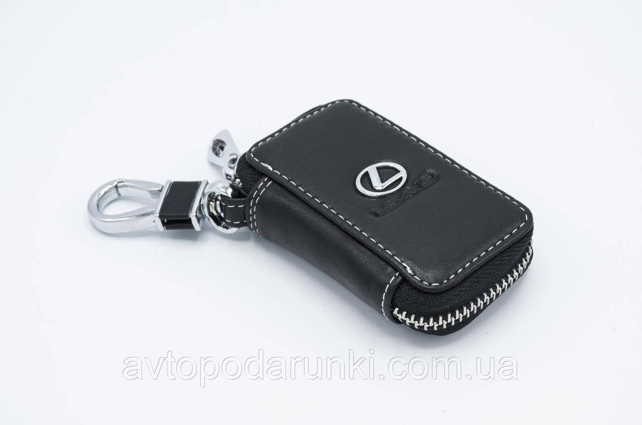 Ключница LEXUS, кожаная автоключница с логотипом  ЛЕКСУС (черная 13011)