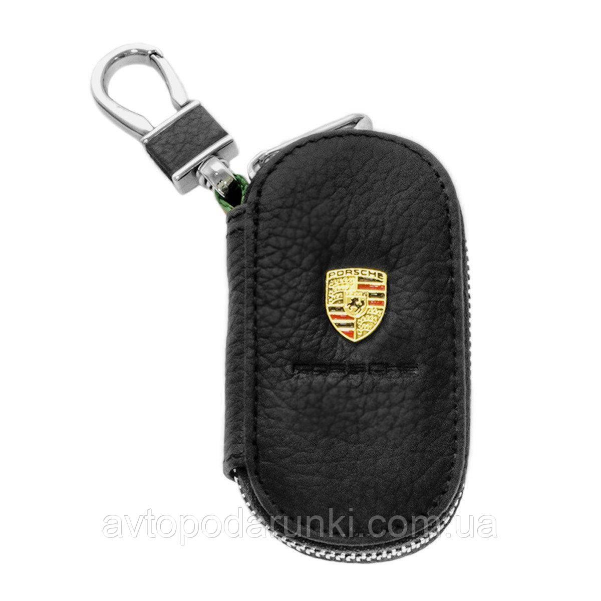 Ключница PORSCHE, кожаная автоключница с логотипом  ПОРШЕ (черная 06003)