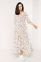 Длинное белое платье на запах из шифона в мелкий цветочек с рукавами до локтя, фото 2