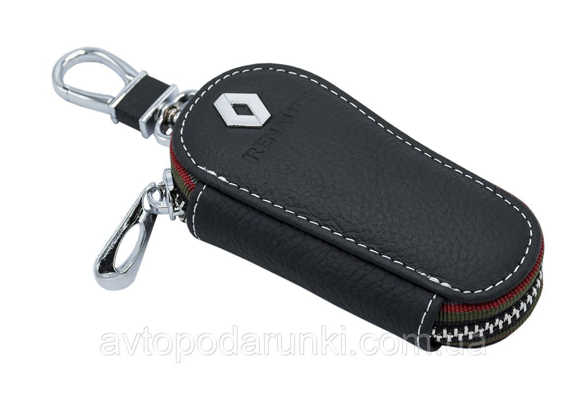 Ключница RENAULT, кожаная автоключница с логотипом  РЕНО (черная 20005)
