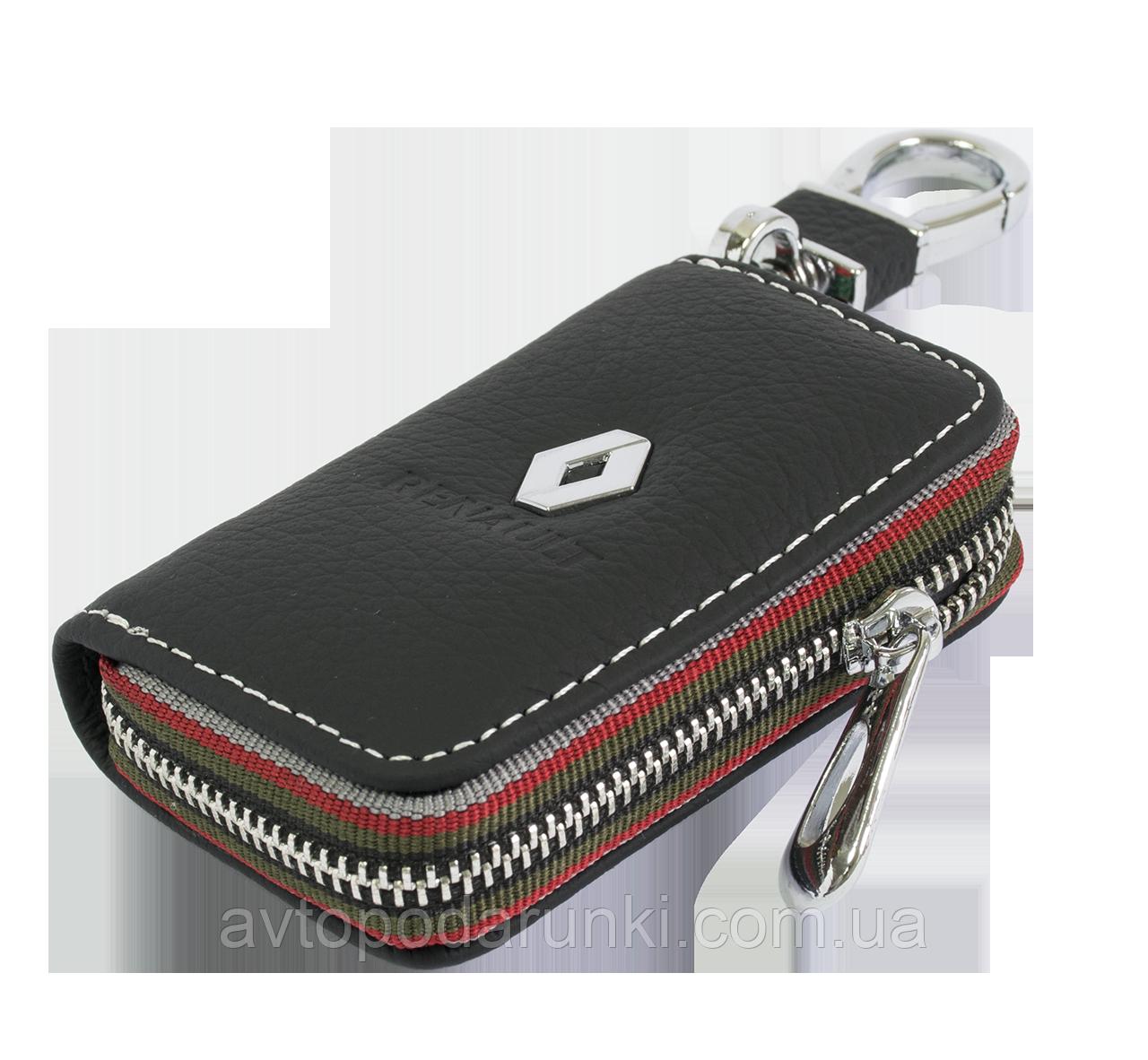 Ключница RENAULT, кожаная автоключница с логотипом  РЕНО (черная 20006)