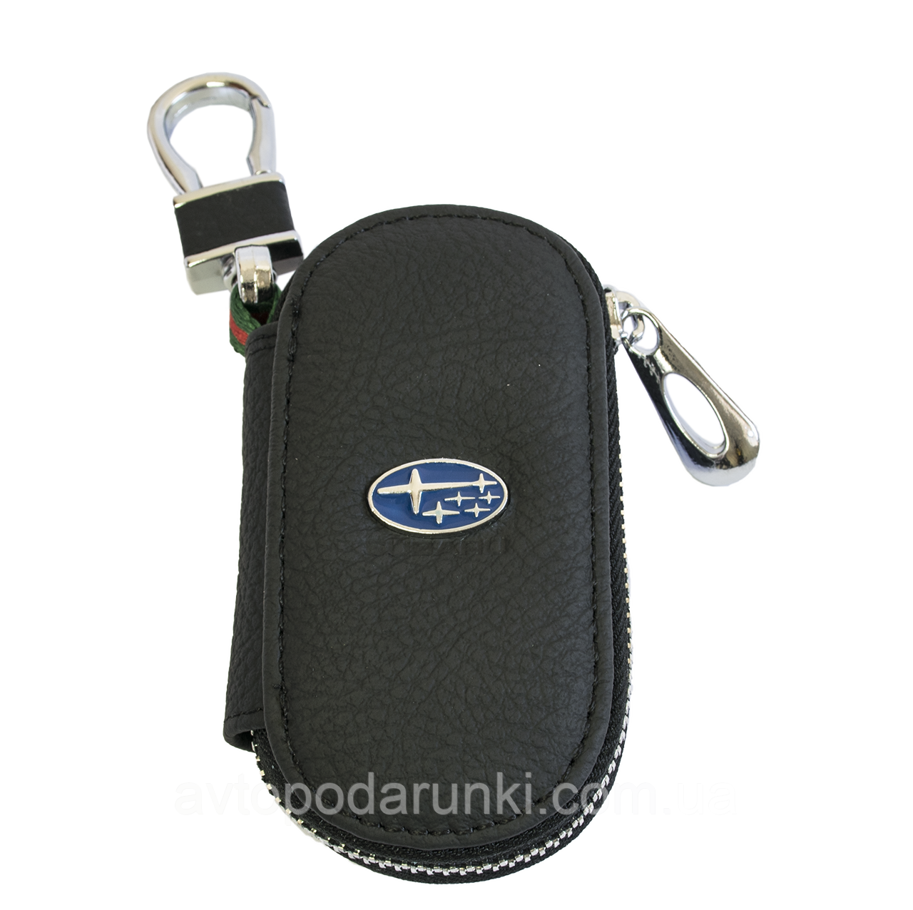 Ключница SUBARU, кожаная автоключница с логотипом  СУБАРУ (черная 21003)