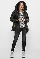 Супер модный черный пуховик с красивым довязом в рукавах размеры 44-52, фото 2