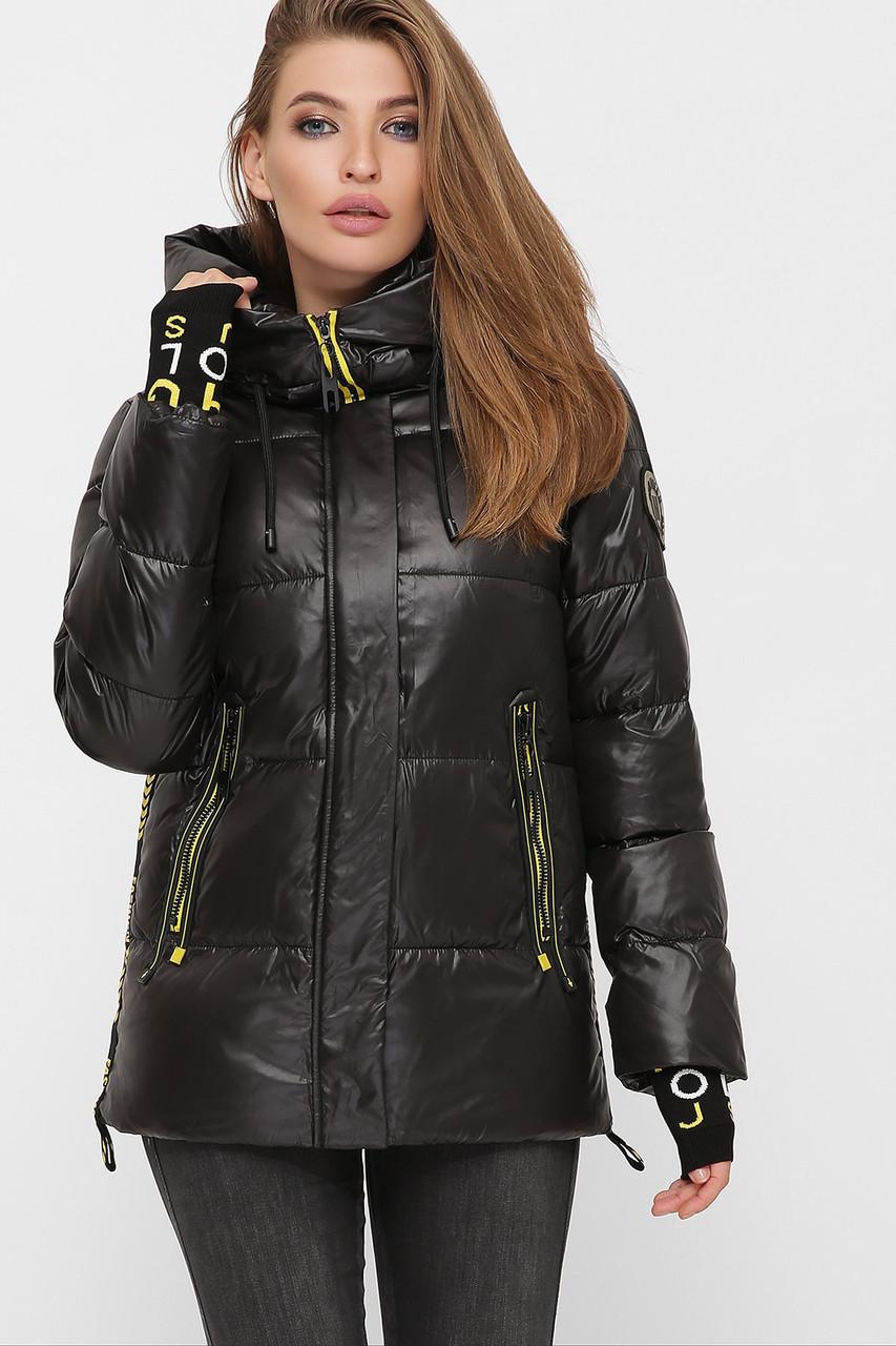 Супер модный черный пуховик с красивым довязом в рукавах размеры 44-52