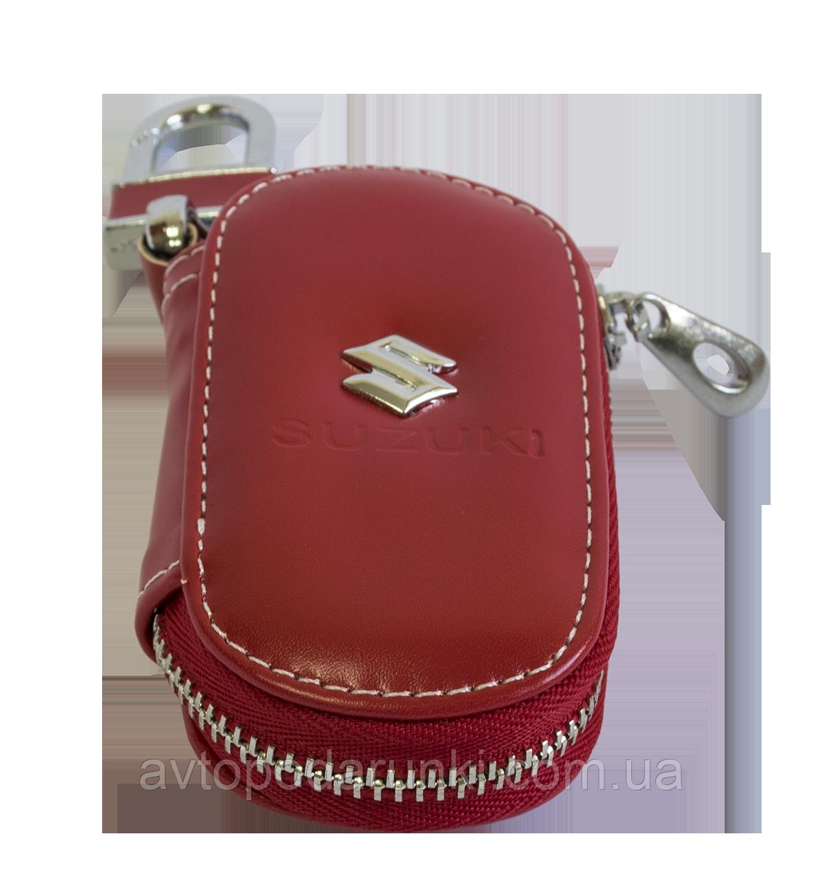 Ключница SUZUKI, кожаная автоключница с логотипом  СУЗУКИ (красная 24015)