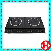 Двухконфорочная индукционная плита Домотек MS-5872 Grey, электро-плита на 2 конфорки настольная, фото 1