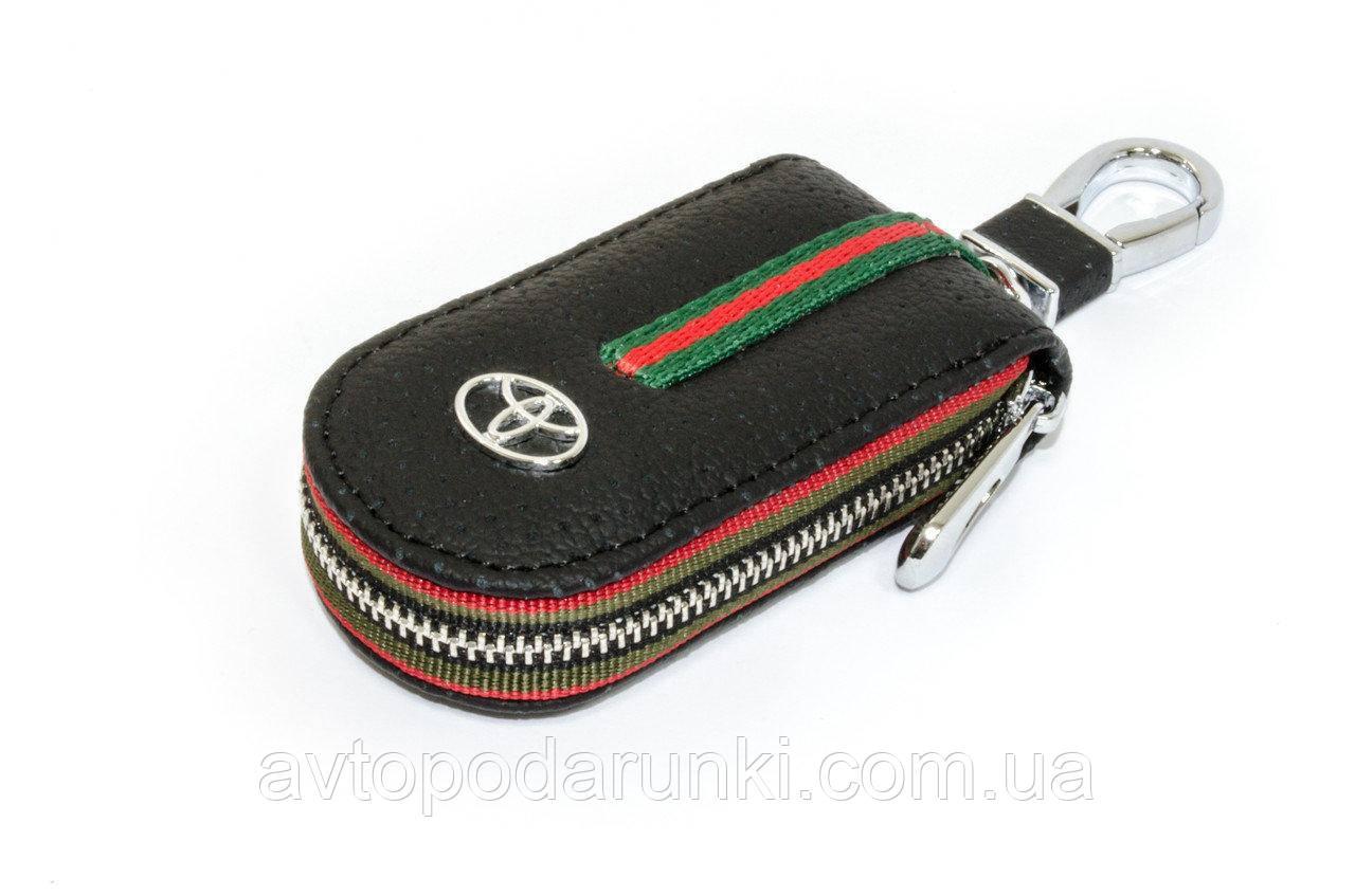 Ключница TOYOTA, кожаная автоключница с логотипом  ТОЙОТА (черная 07007)
