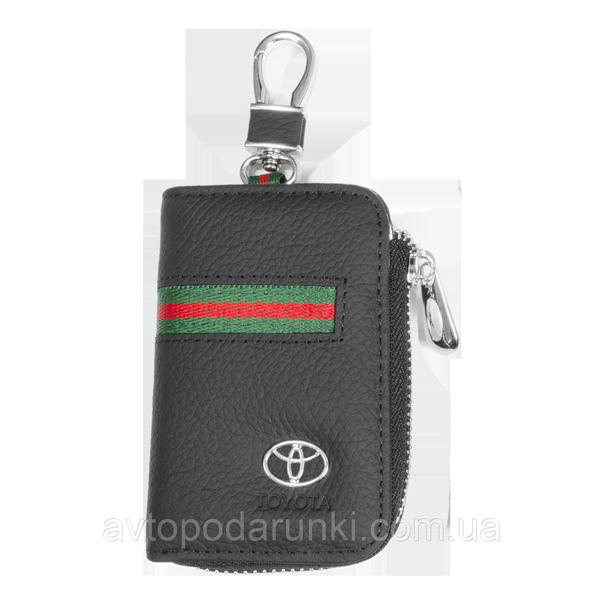 Ключница TOYOTA, кожаная автоключница с логотипом  ТОЙОТА (многофункциональная черная 07012)