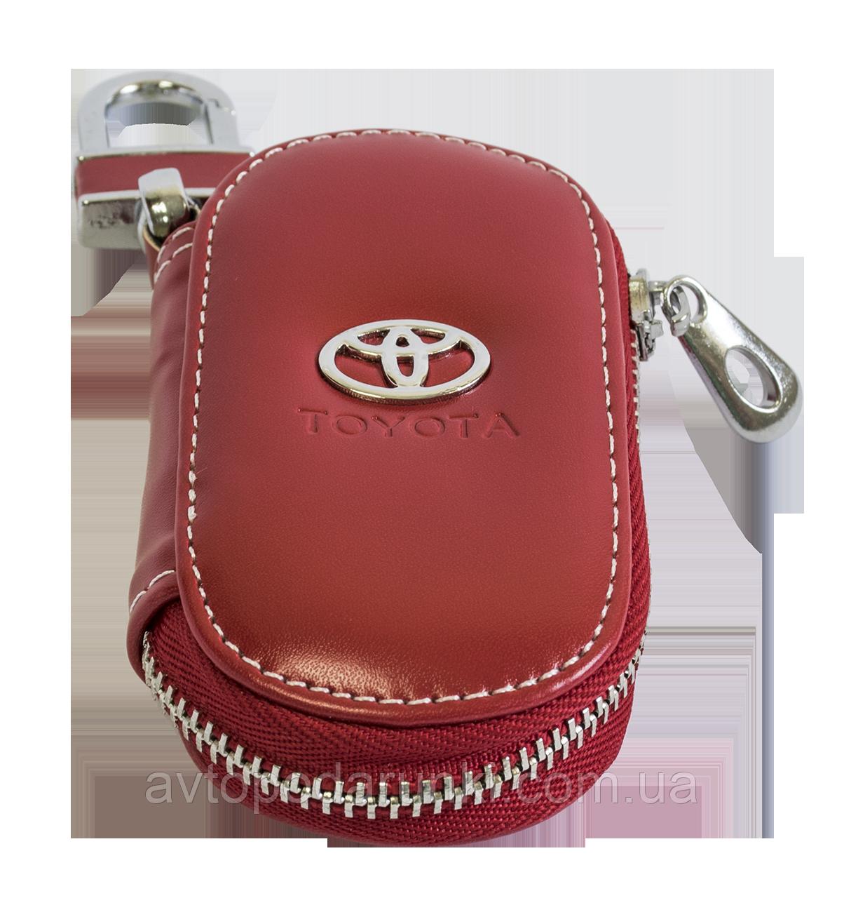 Ключница TOYOTA, кожаная автоключница с логотипом  ТОЙОТА (красная 07015)