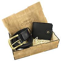 Мужской подарочный набор Handycover №40 черный (ремень и портмоне)