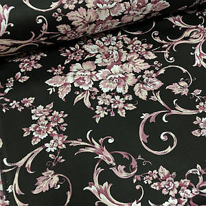 Ткань сатин с рисунком, розовые цветы с орнаментом на черном (ТУРЦИЯ шир. 2,4 м)
