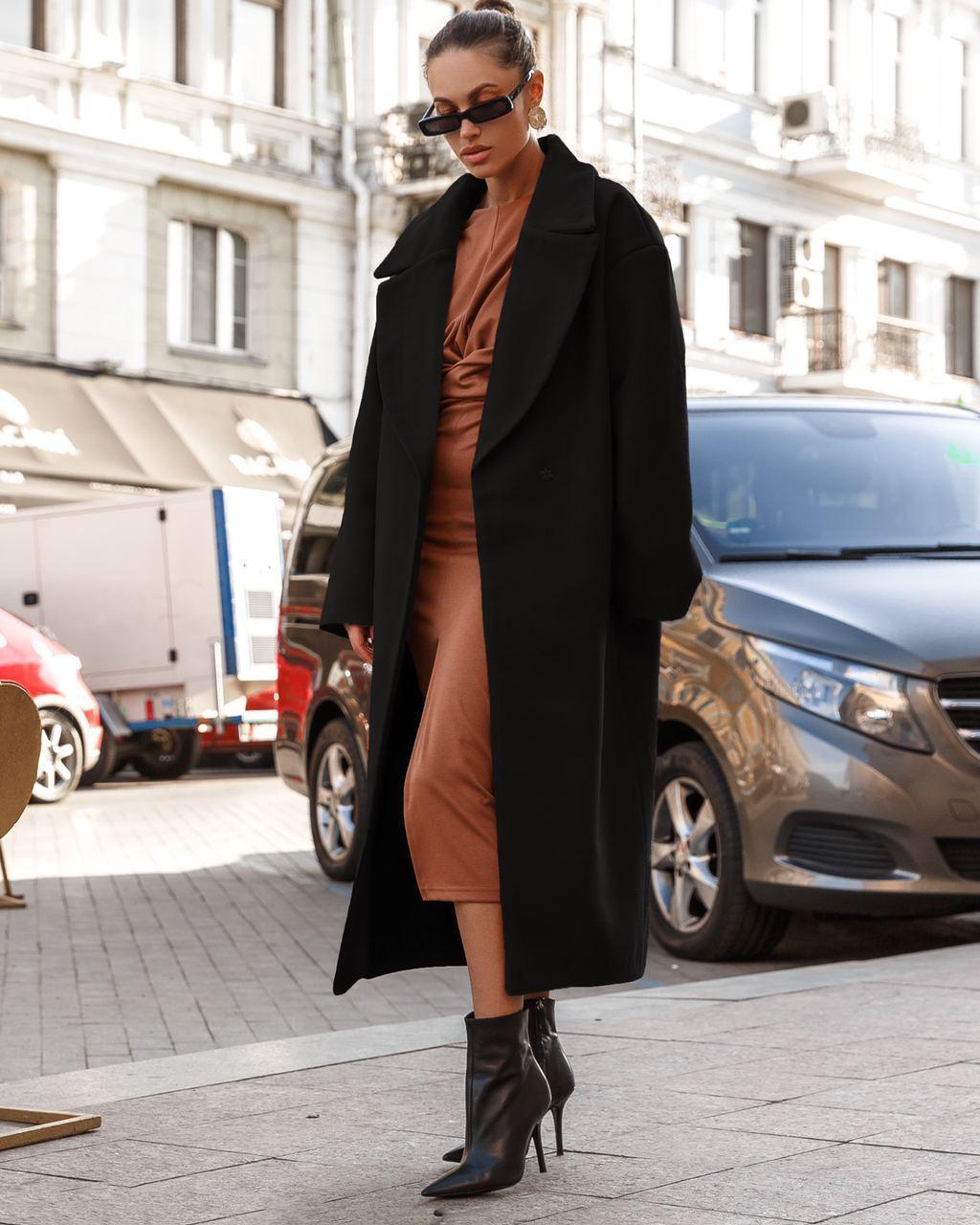Пальто женское с кашемиром оверсайз  AniTi 407, черный