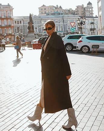 Пальто женское с кашемиром оверсайз  AniTi 407, черный, фото 2
