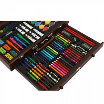 Набір для малювання та творчості в дерев'яному валізі 123 предмета, фото 3